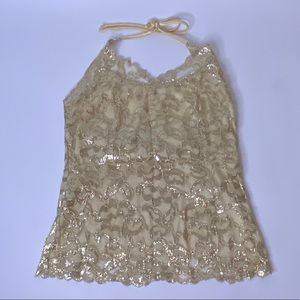 Like-New The Limited Gold Lace Halter Top, M